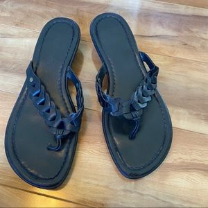 Black Real Leather Sandals
